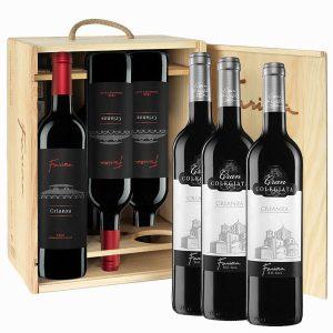 caja madera 6 botellas 3 crianza clasico+3 Fariña crianza